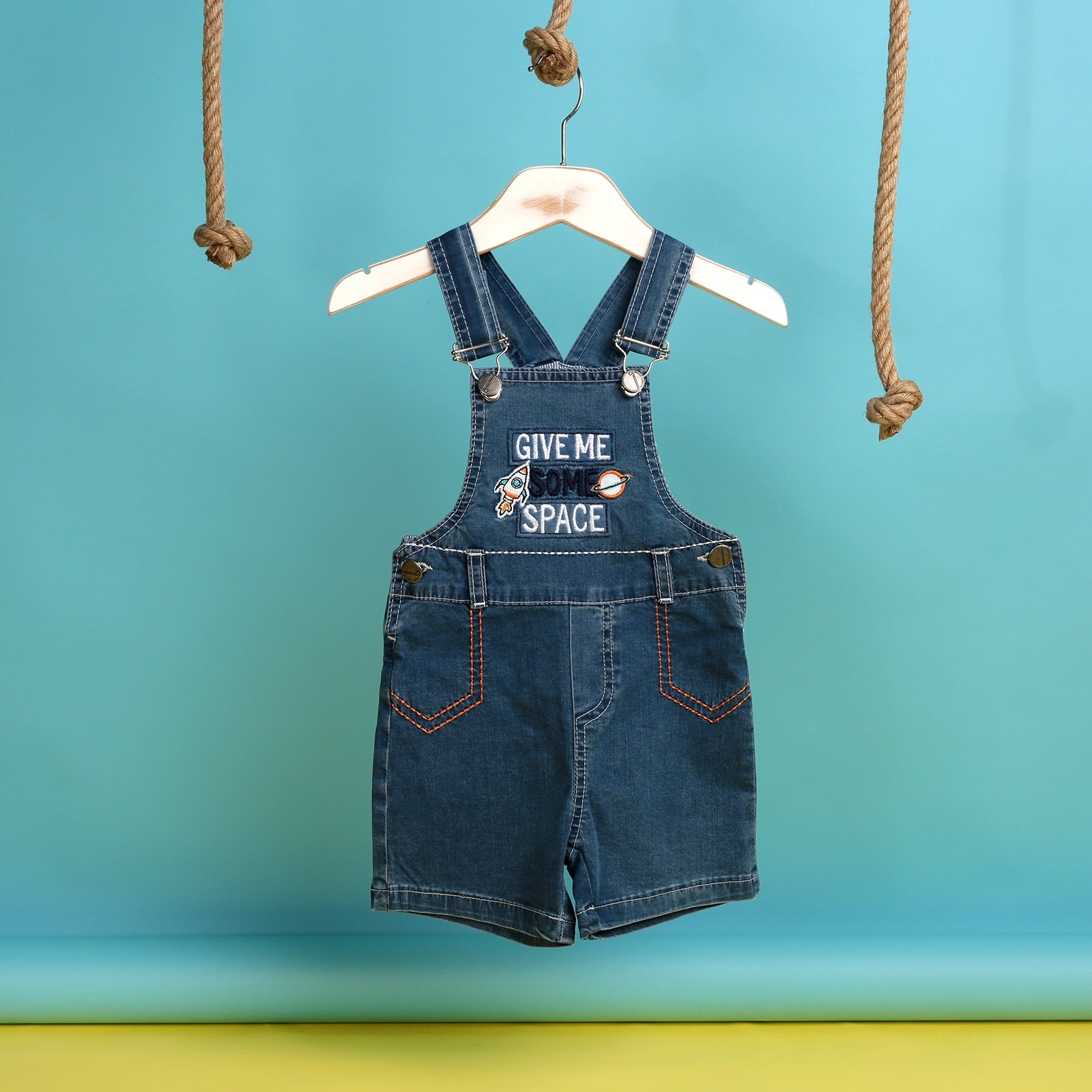 Ebebek Overdo Summer Baby Boy Ufo Embroidered Dungarees