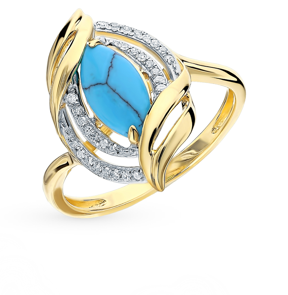 Gold Ring With Turquoise And Diamonds Sunlight Sample 585
