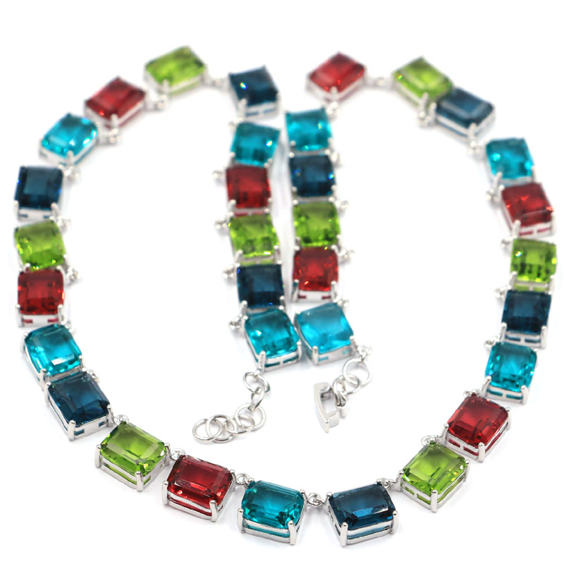 15x9mm Multi Color Big Heavy 59 2g Created Peridot Aquamarine Blue Topaz Garnet Silver Necklace 18 19inch in Necklaces from Jewelry Accessories