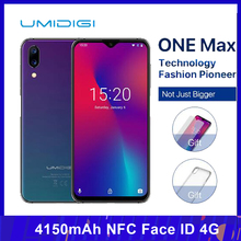 UMIDIGI One Max Del Telefono Mobile 4GB 128GB da 6.3 pollici Helio P23 Octa Core Android 8.1 16MP + 12MP 4150mAh NFC Viso ID 4G Smartphone