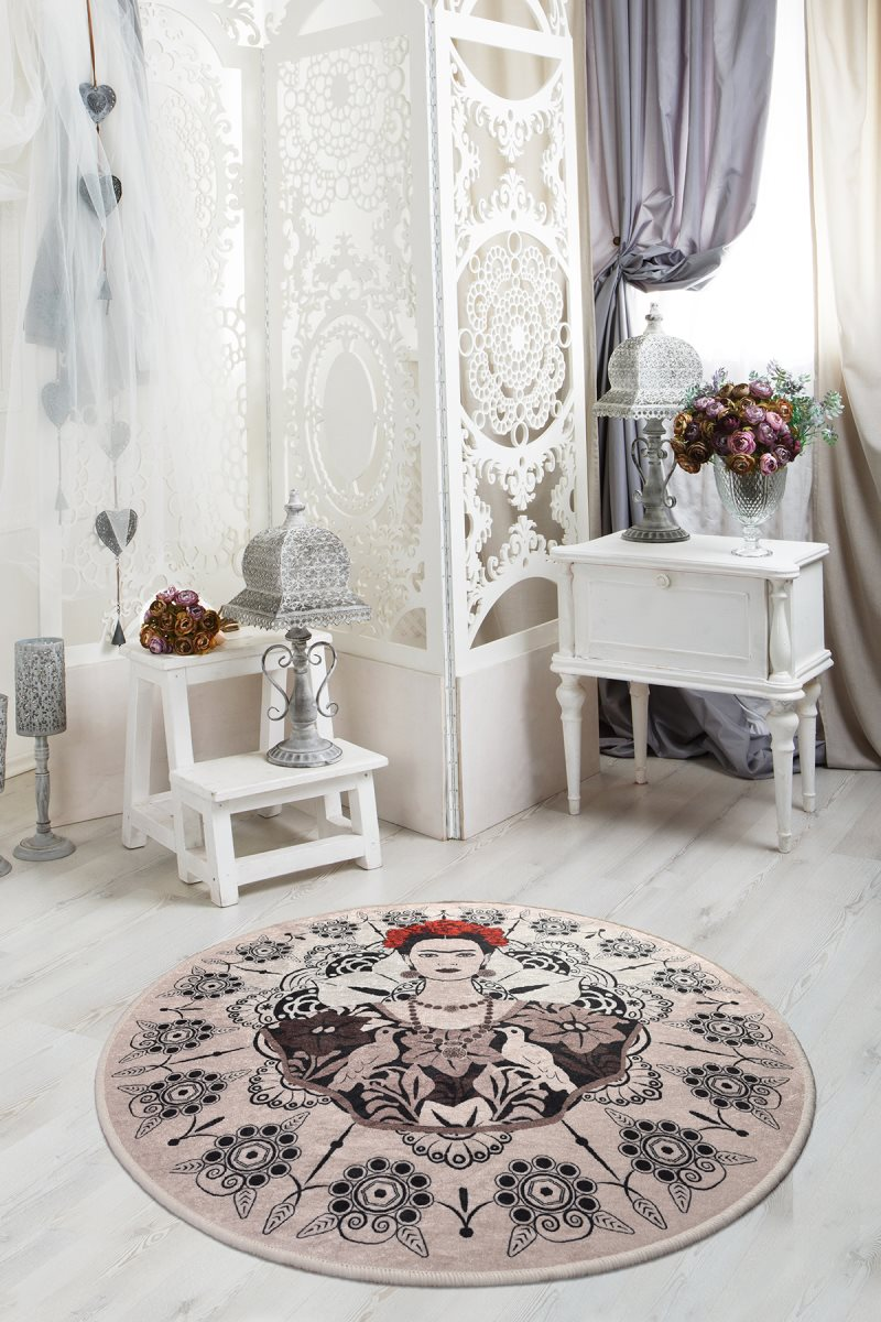 Rugs Living Room-Rugs Living Room-Room Decor-Gray Rug-living Room Decoration | Frida Round Diameter 100 Cm Decorative Djt