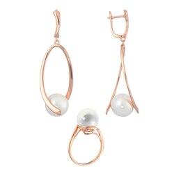 Модная бижутерия для женщин под золото и серебро.Комплекты QSY.Женские длинные серьги и кольцо с белым жемчугом. Серьги кольца.