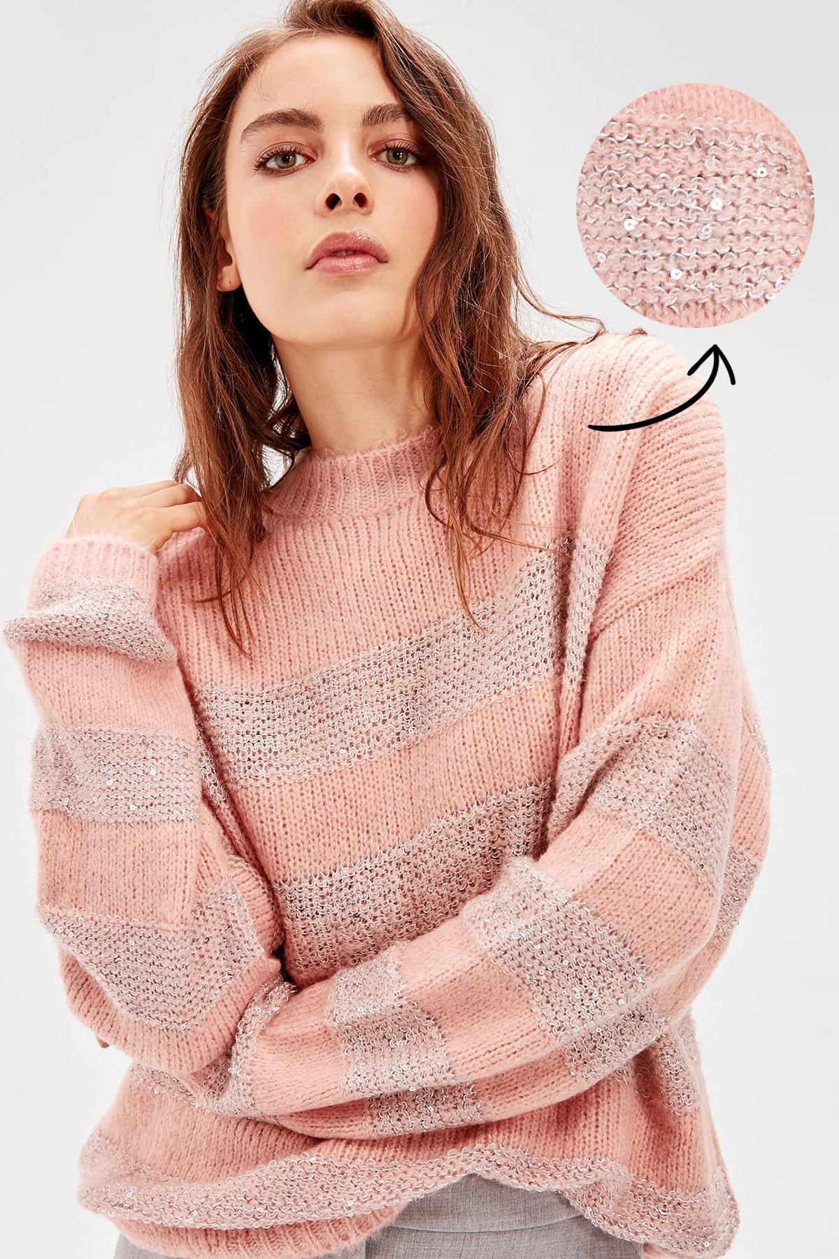 Trendyol WOMEN-Pink Sequin And Sim Detailed Knitwear Sweater TWOAW20NV0033