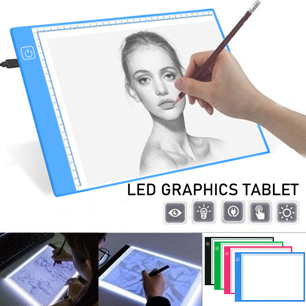 A4 Digital Graphics Tablet A4 Drawing Tablet LED Light Box Pad Electronic USB Tracing Art Copy Board Writing Painting Table