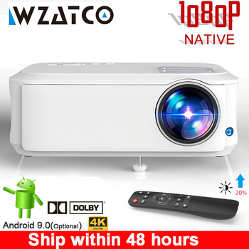 WZATCO T59 4k Projector Full HD Native 1080P Android 9.0 Wifi Smart Home Cinema Video LED Proyector Portable HDMI Movie Beamer