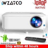 WZATCO T59 4k projecteur Full HD natif 1080P Android 9.0 Wifi Smart Home cinéma vidéo LED Proyector Portable HDMI film projecteur