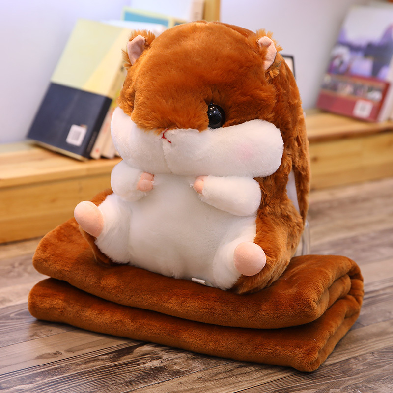 Hamster Toy Cute Hamster Plush With Blanket 3 In 1 Multifunctional Animal Throw Pillow Hamster Hand Warm Soft Doll Kid Gift