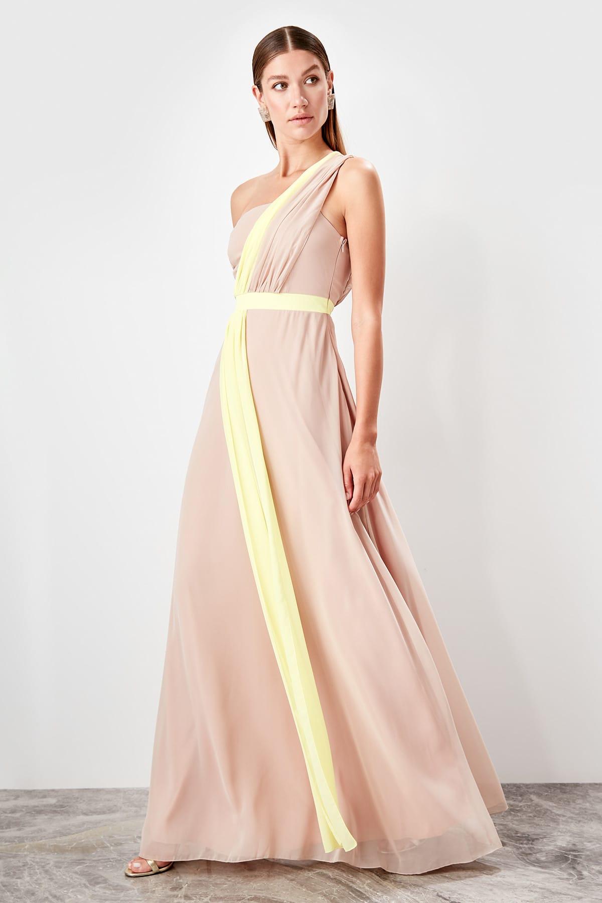 Trendyol Yellow Blocky Evening Dress TPRSS19FZ0500