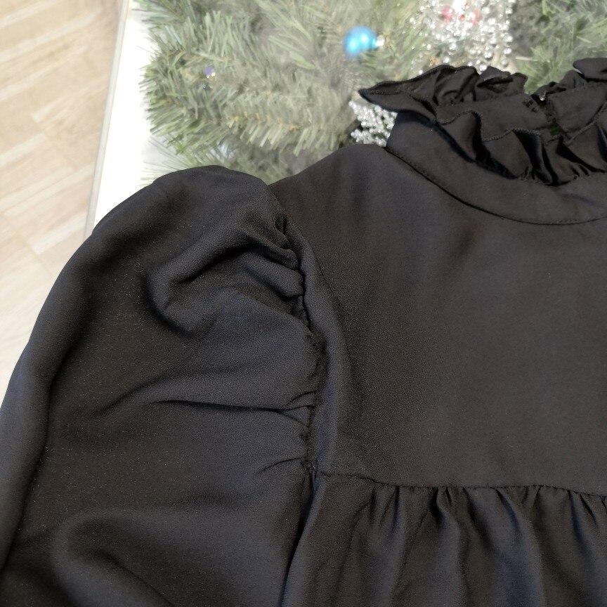 Hot 2019 autumn new fashion women's temperament commuter puff sleeve small high collar natural A word knee Chiffon dress reviews №8 342798