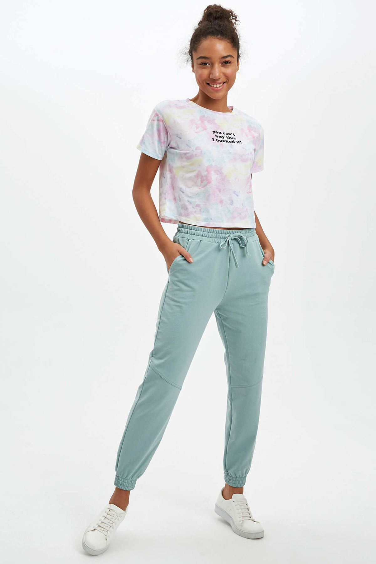 DeFacto Woman Trousers Women Spring Light Blue Long Pants Women Casual Lace-up Bottoms Women's Trousers-R3001AZ20SP