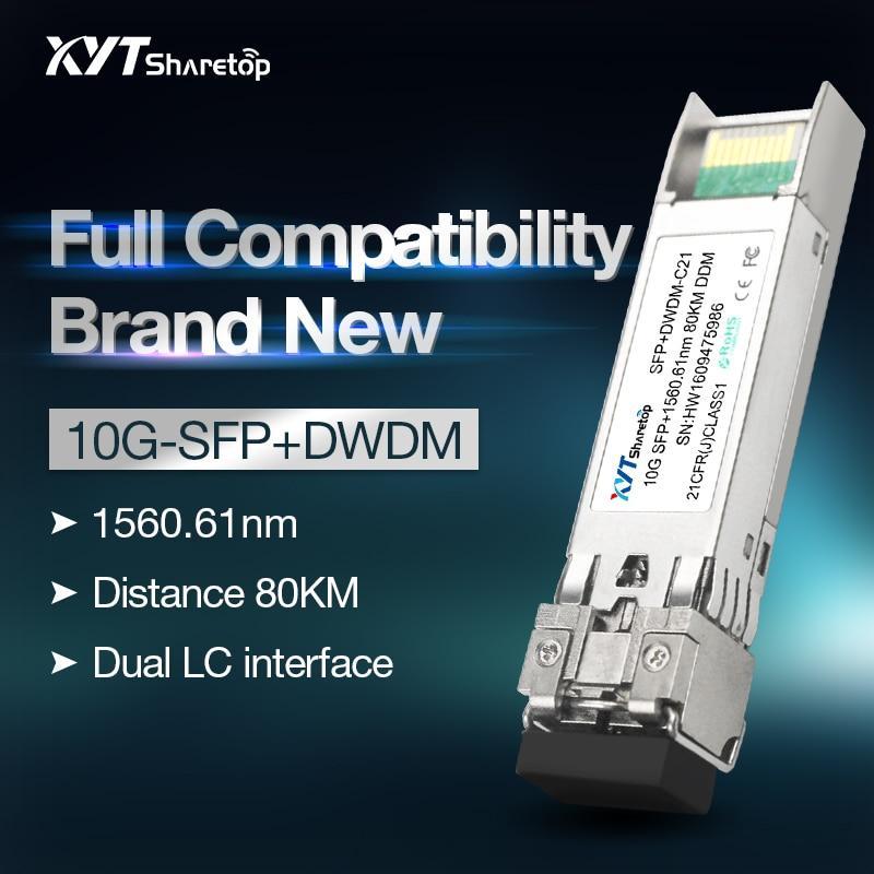 Sharetop10G DWDM Optical Transceiver Module SFP+10G-DW C21-C60  40/80km LC Port Single Mode Dual Fiber Full Compatible