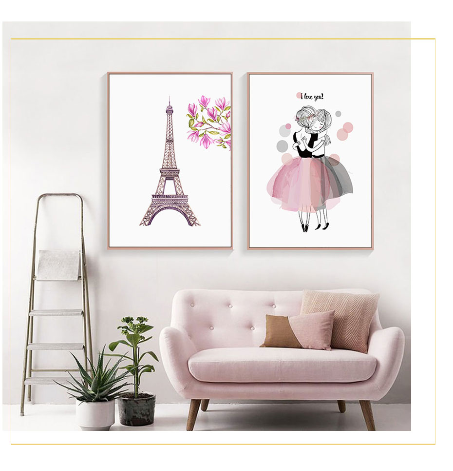 U05ea340807604c39848133f00d28d82fw Watercolor Pink Kawaii Girls Poster Nursery Decor Flower Canvas Paintings Print Wall Art Pictures Gifts Children Room Home Decor