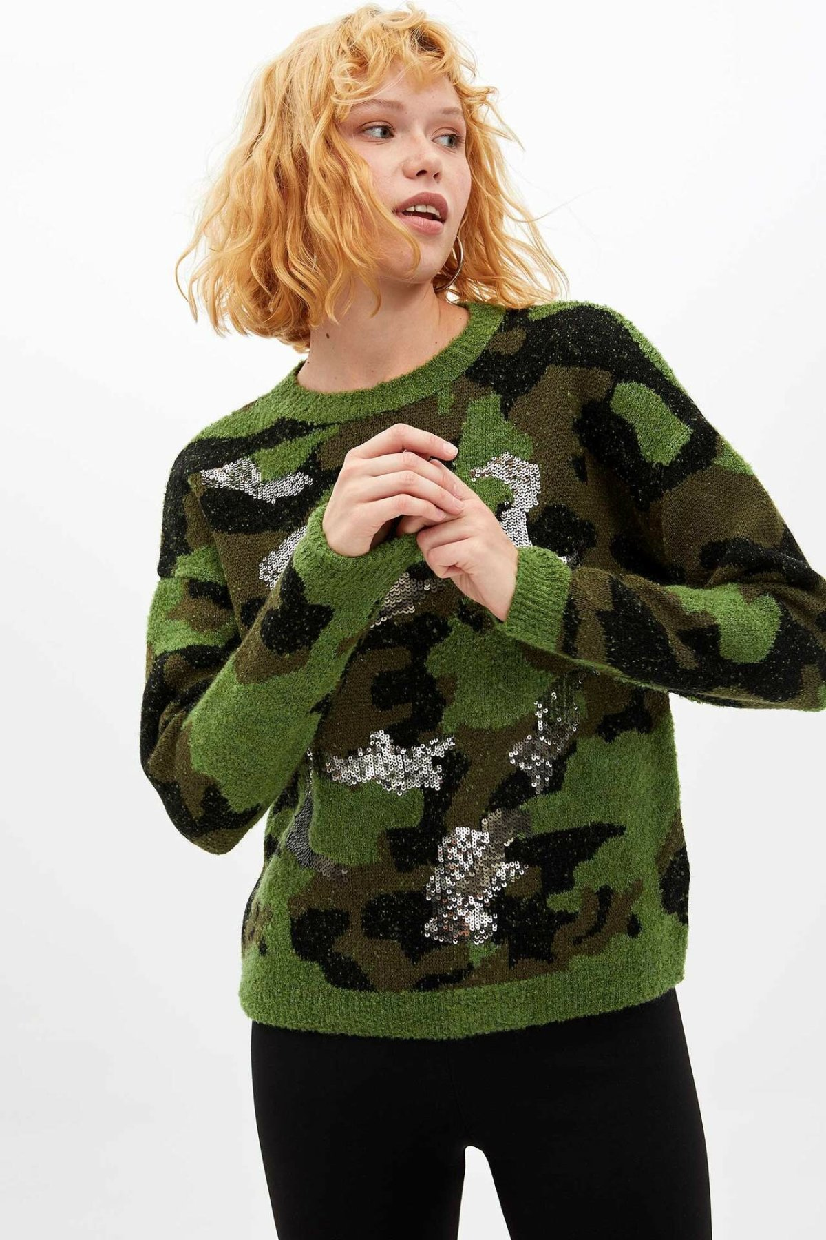 DeFacto Ladies Fashion O-neck Camouflage Pattern Pullover For Women's Loose Casual Knitted Pullovers Female - M2787AZ19WN