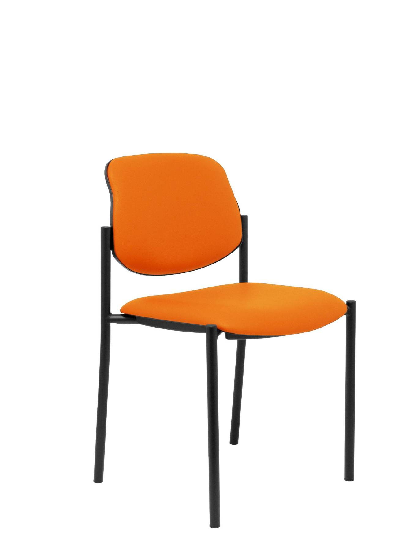 Visitor Chair 4's Topsy And Estructrua Negro-up Seat And Backstop Upholstered In Tissue Similpiel Orange TAPHOLE