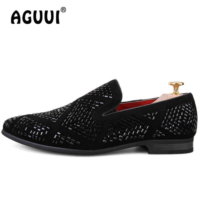 Mocasines para hombre zapatos planos de cuero de ante negro tamaño 38-43 brillantina hombre conductor mocasines boda fiesta zapatos Casuales