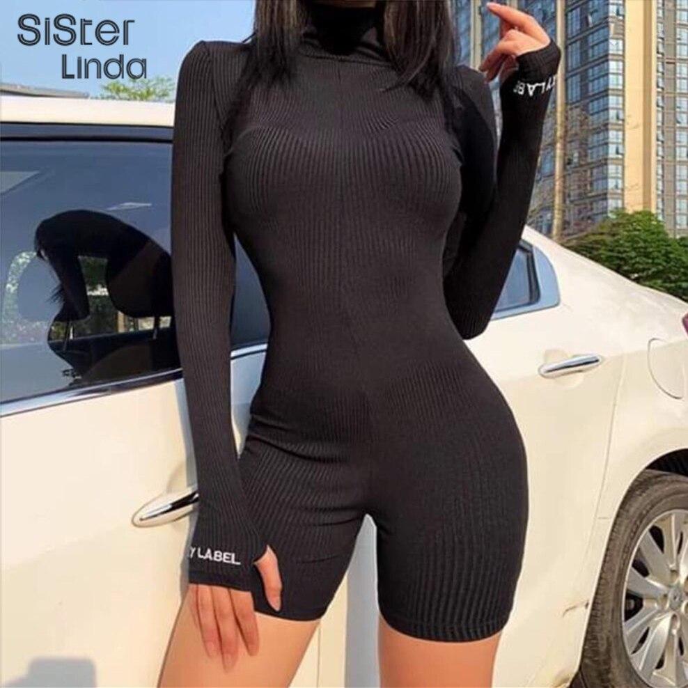 Sisterlinda Solid Turtleneck Short Jumpsuits Women Fitness Slim Rompers Female Zipper Skinny Bodysuit Skinny Jogger Mujer 2020