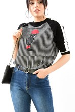 Women's Cycling Collar Striped Front Printed Black Blouse 14463