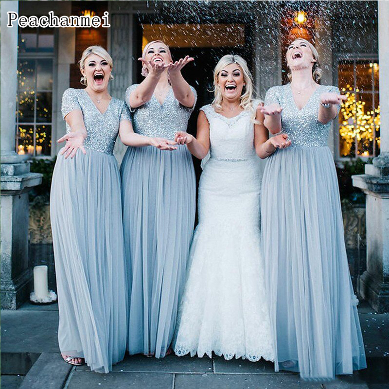 Sexy V Neck Dusty Blue Long Bridesmaid Dresses Plus Size 2019 Short Sleeve Sequins Dusty Pink Wedding Party Dress