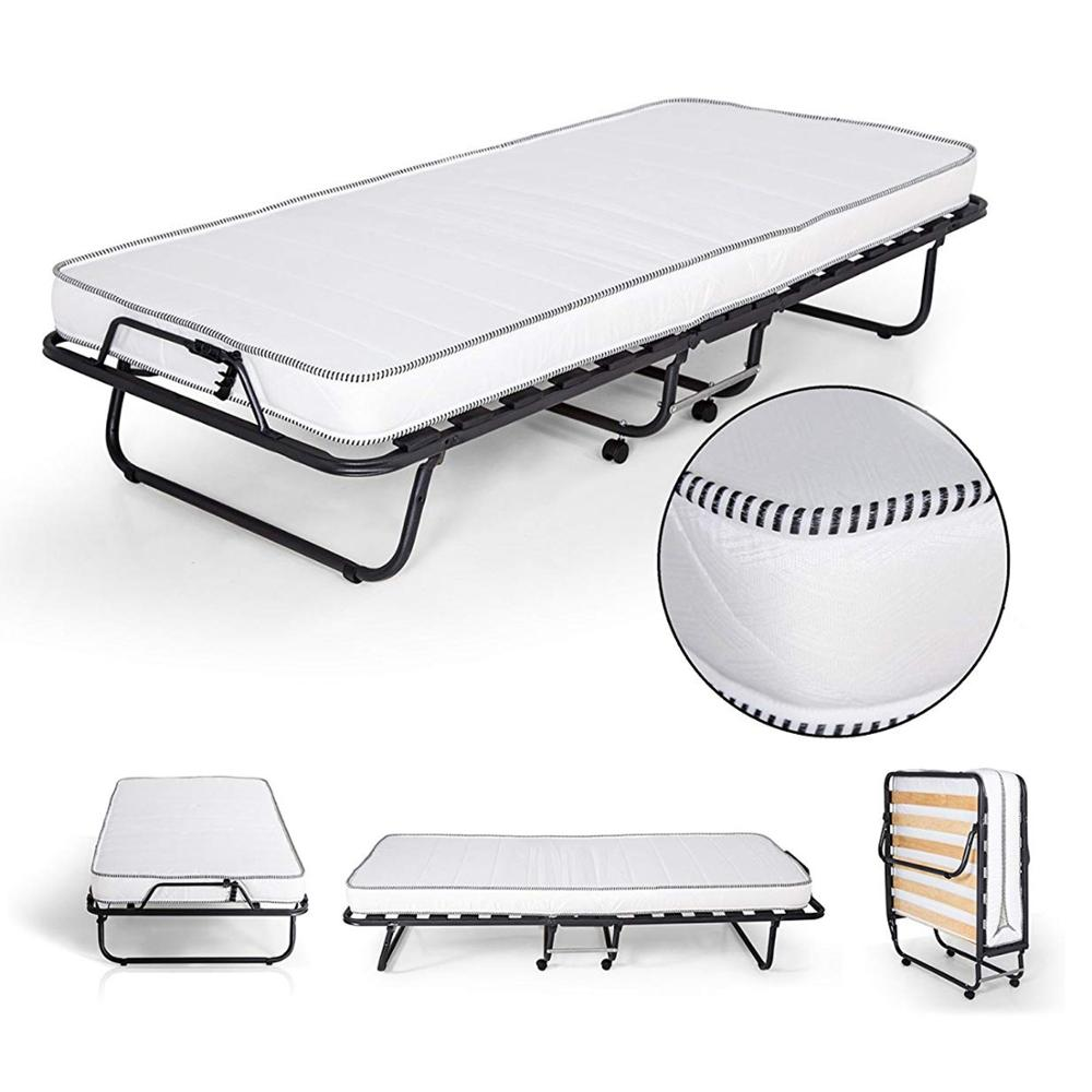 Materassiedoghe-Folding Bed 90 X200 Cm Wooden Slatted Orthopedic With Wheels Including Mattress H.11 Cm Waterfoam