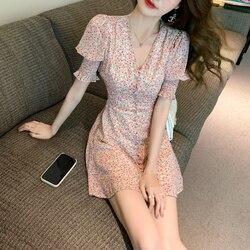 Женское шифоновое платье с V-образным вырезом, короткая юбка во французском стиле с V-образным вырезом и цветочным принтом, лето