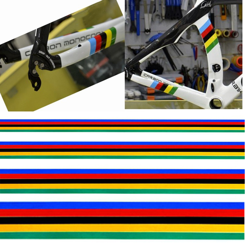 1Set Reflective Cycling Frame Sticker Bicycle Sticker Rainbow Colors Decoration Sticker DIY MTB Bike Modified Sticker(China)