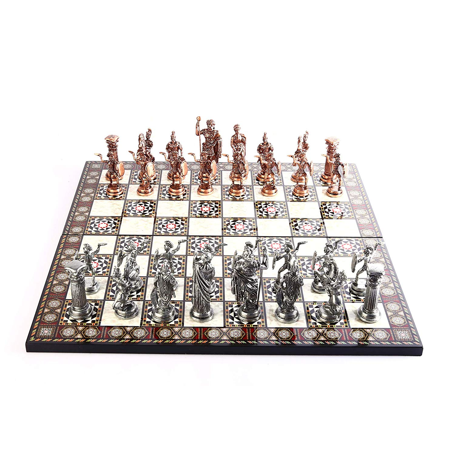 Historical Antique Copper Rome Figures Metal Chess Set,Handmade Pieces,Mother-of-Pearl Design Wood Chess Board King 11 Cm
