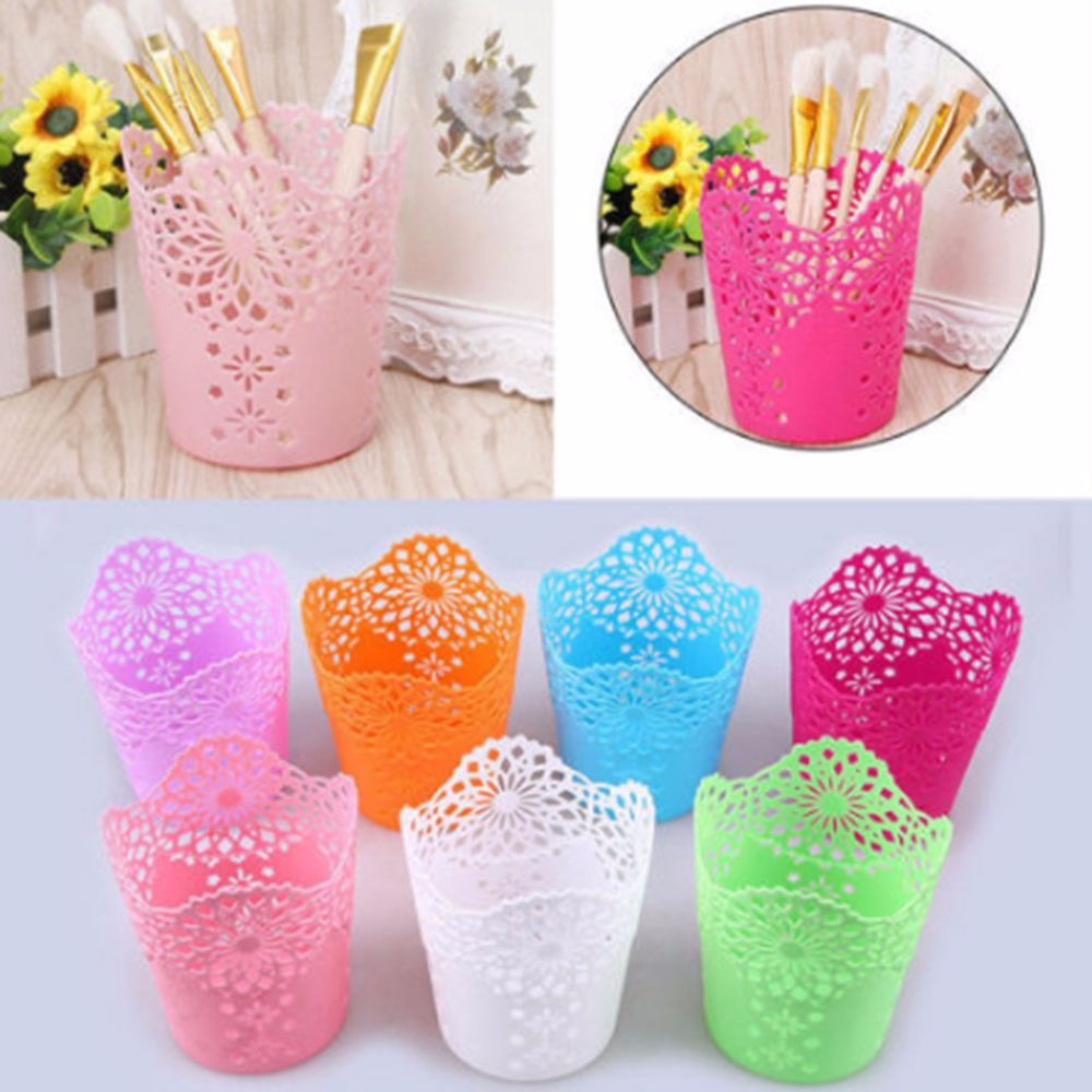 1Pc Hollow Flower Brush Storage Pen Pencil Pot Holder Container Plastic Desk Organizer Multifunctional Storage Office Stationery