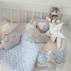 Jaju Baby Babynest Blue Star Luxury Orthopedic Baby Nest and Breastfeeding Pillow 5 Piece Bedding Set Baby Bed Crib Bedding Set