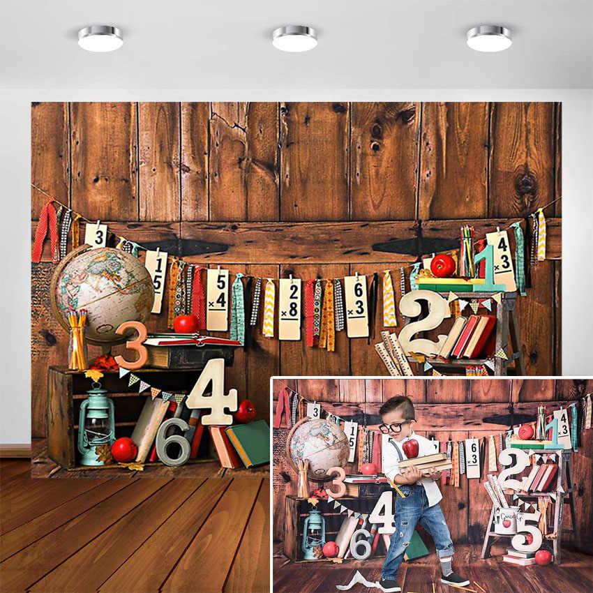 Powrót do szkoły tło brązowy drewniany ściana przedszkole dziecko dziecko fotografia portretowa tło dla Photo Studio fotokomórki