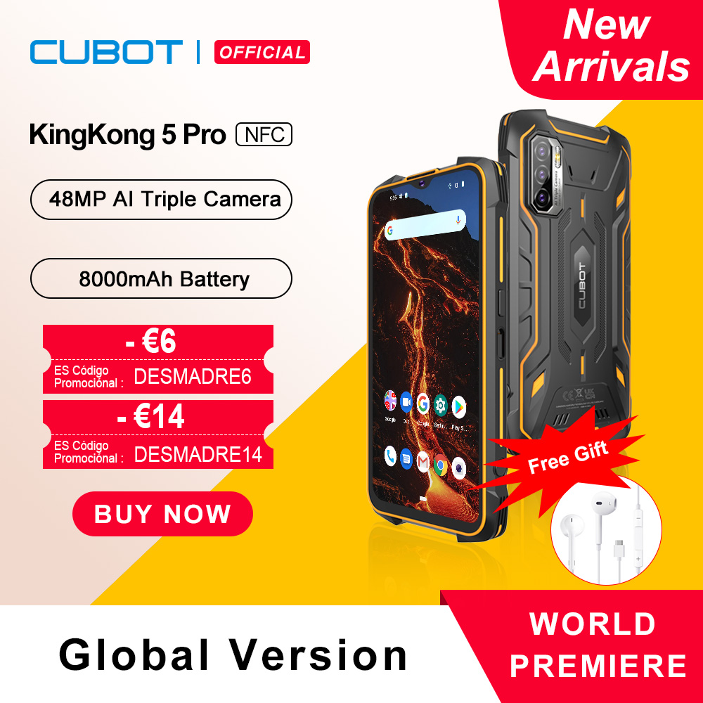 Cubot KingKong 5 Pro Защищенный смартфон 2021 Android 11 Водонепроницаемый IP68/IP69K/MIL-STD-810 Большая батарея 8000мАч 4ГБ+64ГБ 48МП Тройная камера Глобальная 4G LTE Две ...