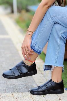 Różowy Potin kobiety czarne czarne buty A1979-20 tanie i dobre opinie Pembe Potin Oksfordzie TR (pochodzenie) Sztuczna skóra Gumką Pasuje prawda na wymiar weź swój normalny rozmiar Na co dzień