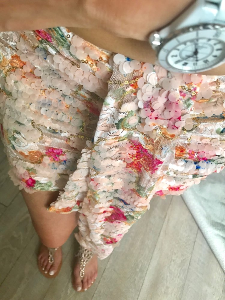 Elegant Floral Sequined Skirts Women Chic Asymmetrical Front Drop Draped Mini Wrap Skirt Sexy Club Party Outfits Skirt photo review