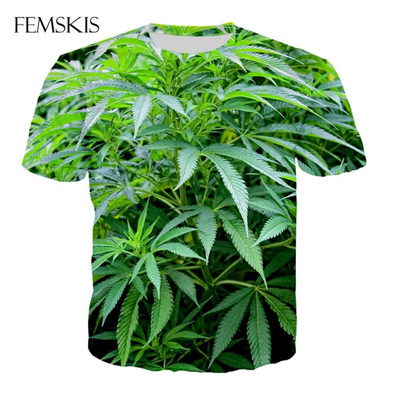 FEMSKIS Summer New Fashion T-shirt Men's And Women's Short-sleeved T-Shirt 3D Printing Plant Leaf Hemp Leaf Funny Pullover