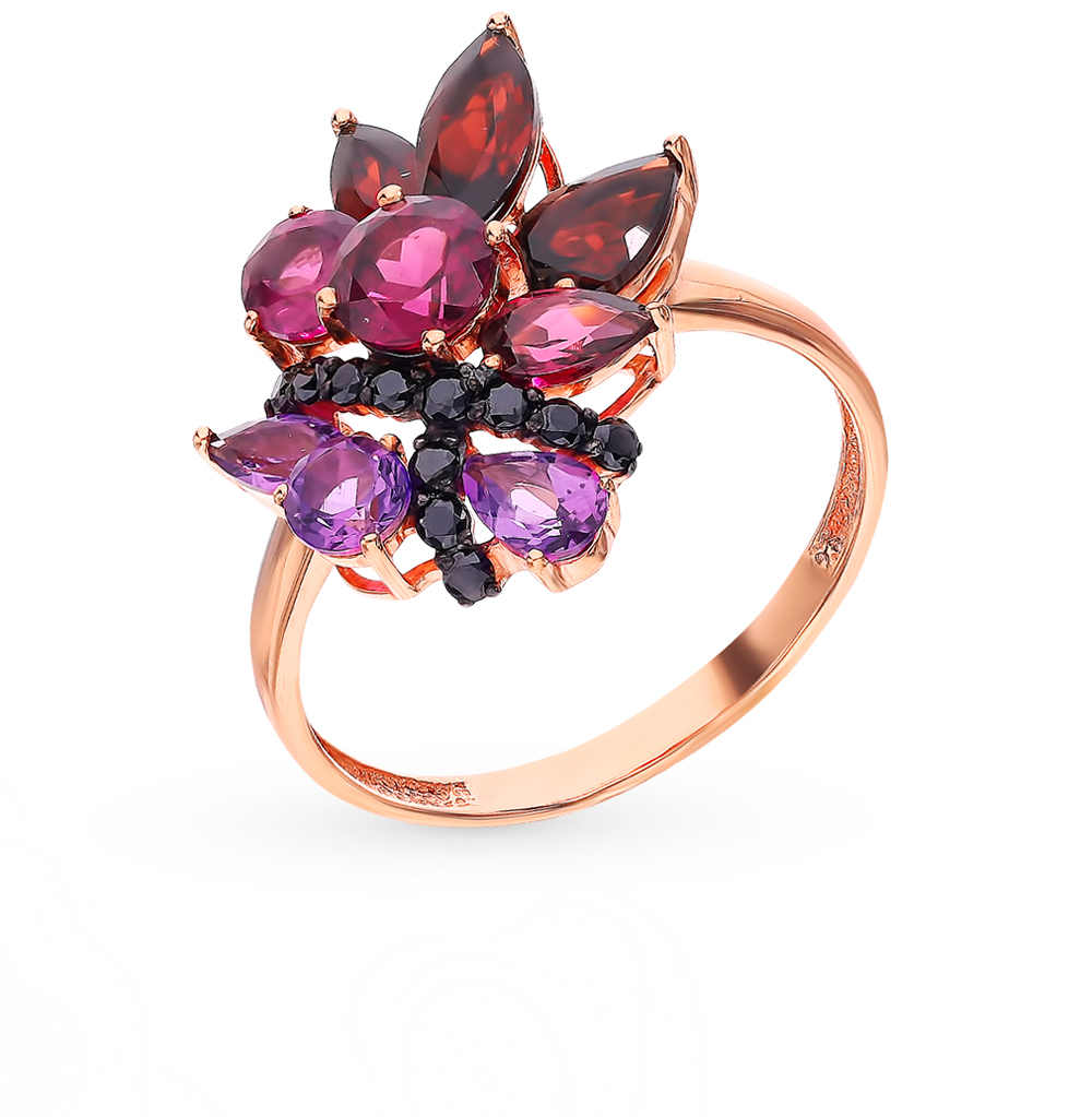 Gold Ring With Rhodolite, Amethyst, Cubic Zirconia And Garnet Sunlight Sample 585