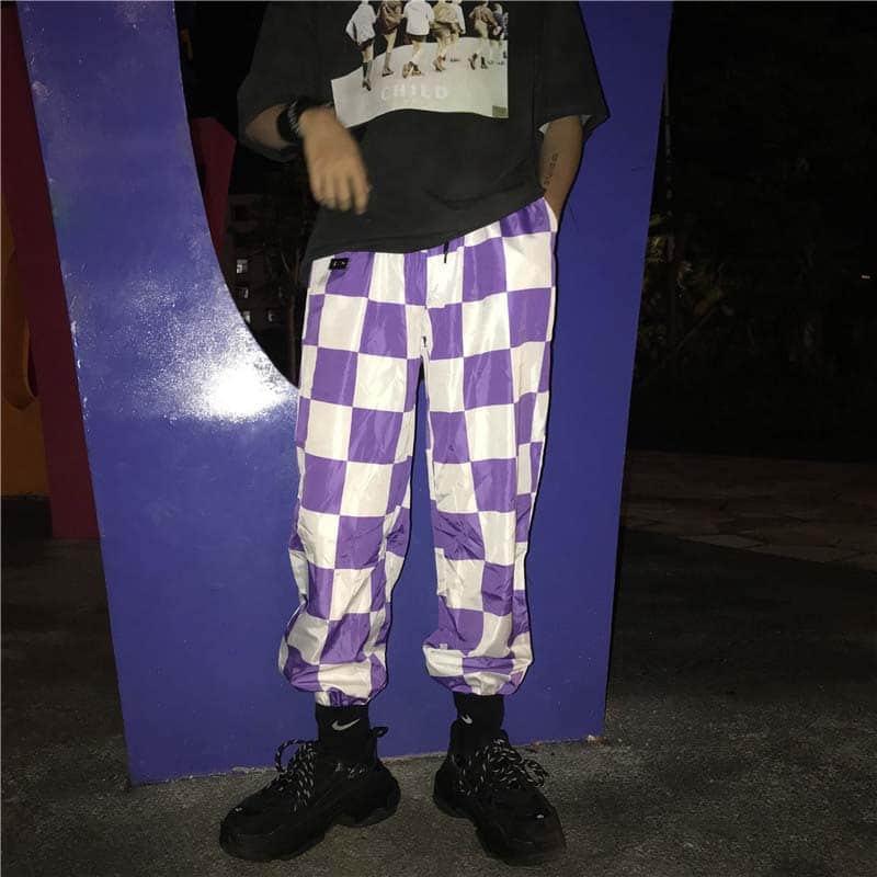Hip Hop Harem Streetwear Plus Size Jogger Pant Plaid Harajuku Korean Women Man Punk Trouser Cargo Checkerboard Rap Loose Bottoms in Pants amp Capris from Women 39 s Clothing