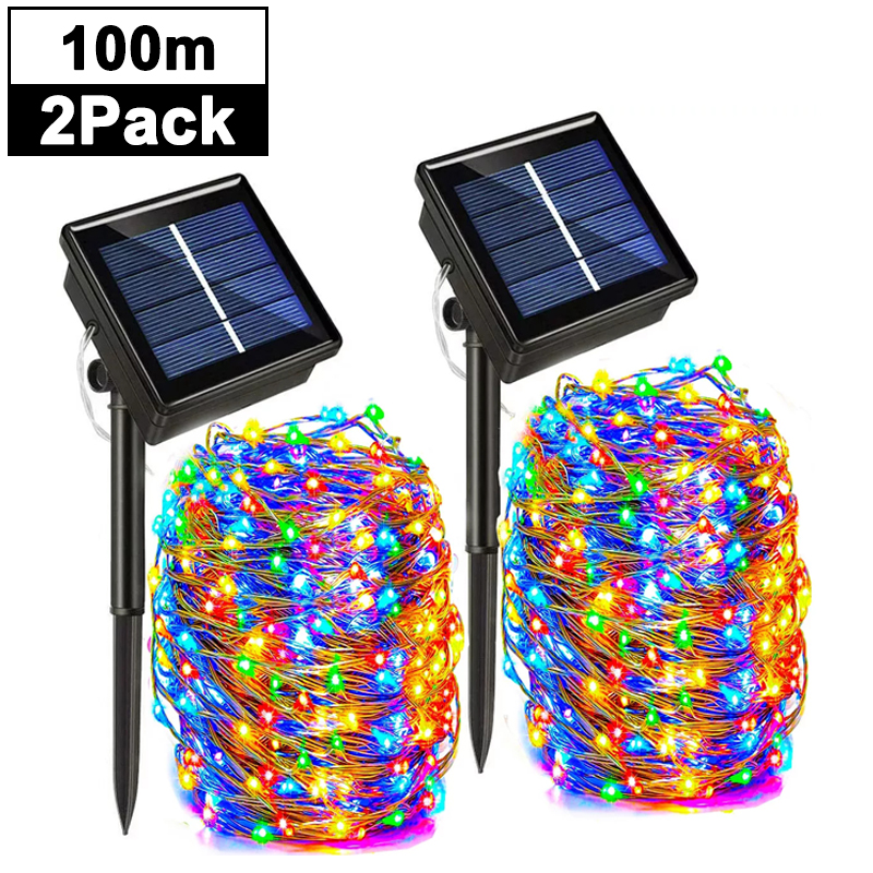 Outdoor Solar String Lights Waterproof Garden Fairy Lights with 8 Lighting Modes for Patio Trees Christmas Wedding Party Decor