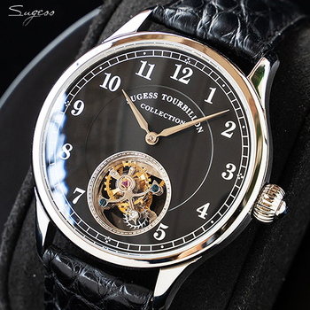 Sugess Real Tourbillon Business Men Watch Seagull ST8000 Movement Luxury skeleton mechanical watches Sapphire Silver Gold Watch 1