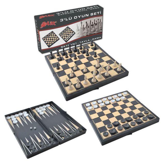 Jeu d'échecs Backgammon et jeu de dames pliable. Jeu de société 3-en-1 Portable 1
