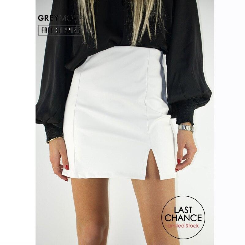 GREYMODA Leather Skirt With Side Slit White Skirt 3 Colors Women Tube Skirt Short Skirts Mini Skirt Spring 2020 Fashion