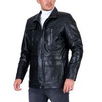 New Season Men's Genuine Leather Square Pocket Zippered Original Winter Jacket