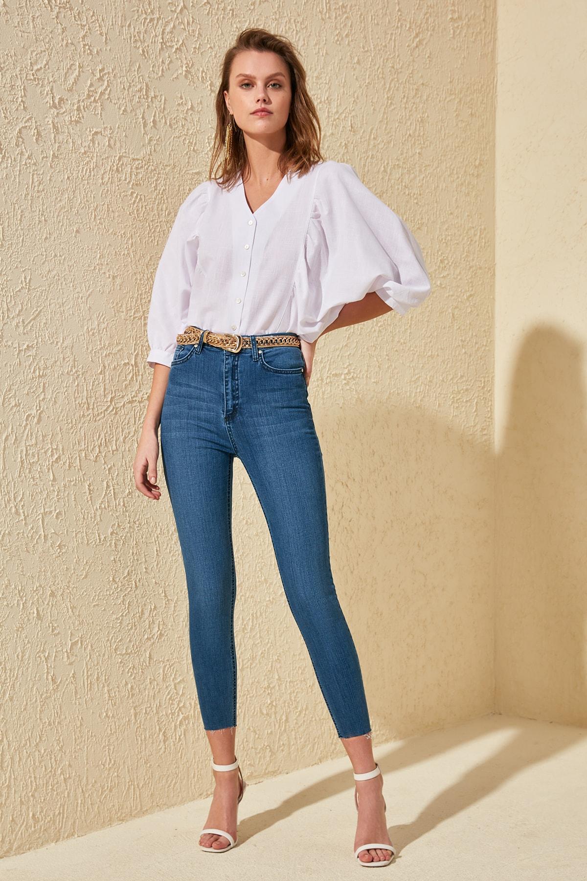 Trendyol Pettitoes Discrete High Waist Skinny Jeans TWOSS20JE0225