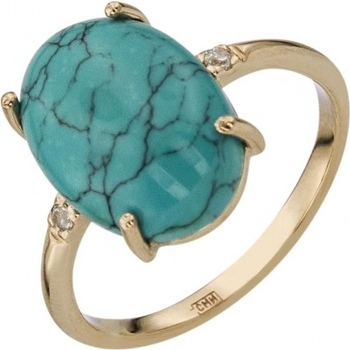 Aloris ring with turquoise and cubic zirconia in red gold