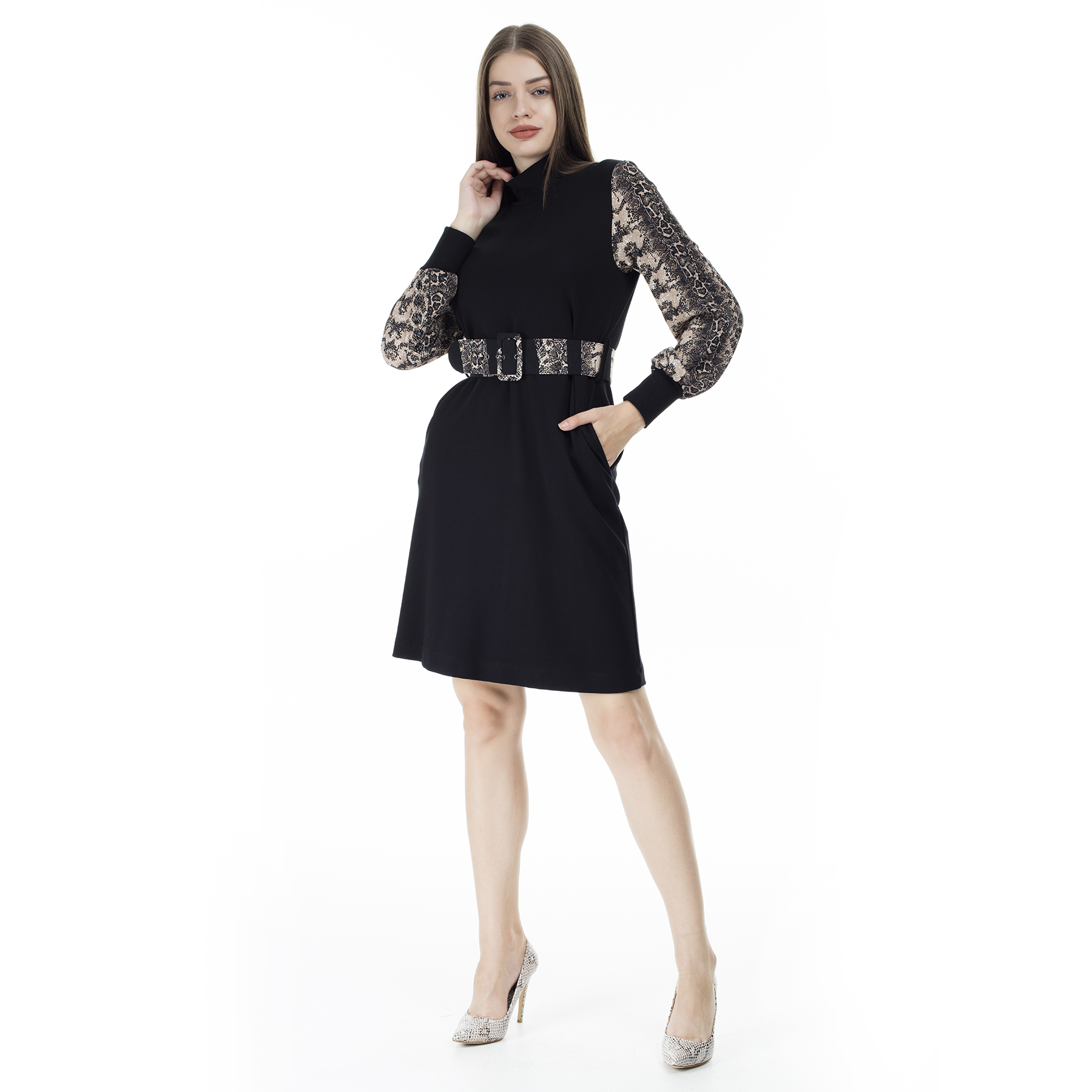 Via Dante Snake Skin Print Arched Dress WOMEN DRESS 1033519VD