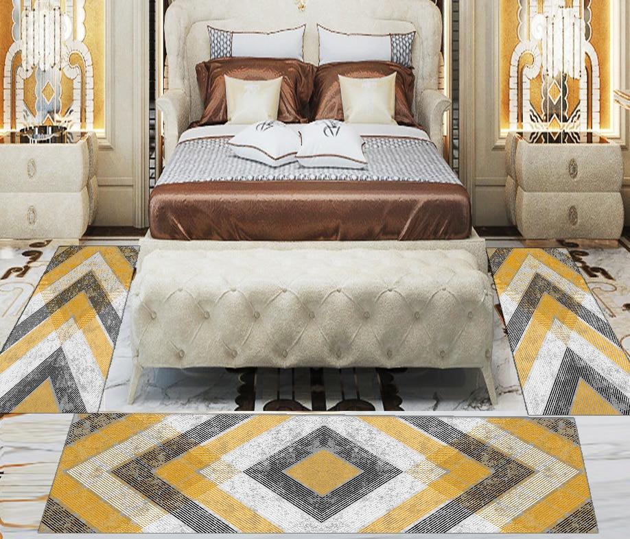 Else 3 Piece Yellow Grey Arrow Geometric Nordic 3d Print Non Slip Microfiber Washable Decor Bedroom Hallway Area Rug Carpet Set