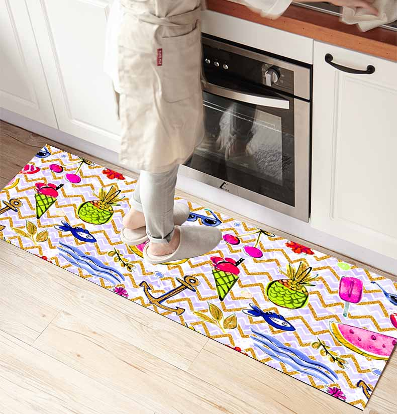 Else Summer Fruits Ice Cream Sea 3d Print Non Slip Microfiber Kitchen Counter Modern Decorative Washable Area Rug Mat