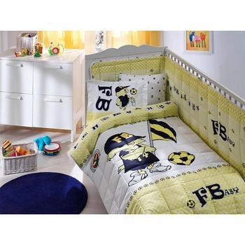 цена на Made in Turkey FENERBAHCE Infant Baby Crib Bedding Bumper Set For Boy Girl Baby Cot Cotton Soft Soccer Fan Antiallergic FB