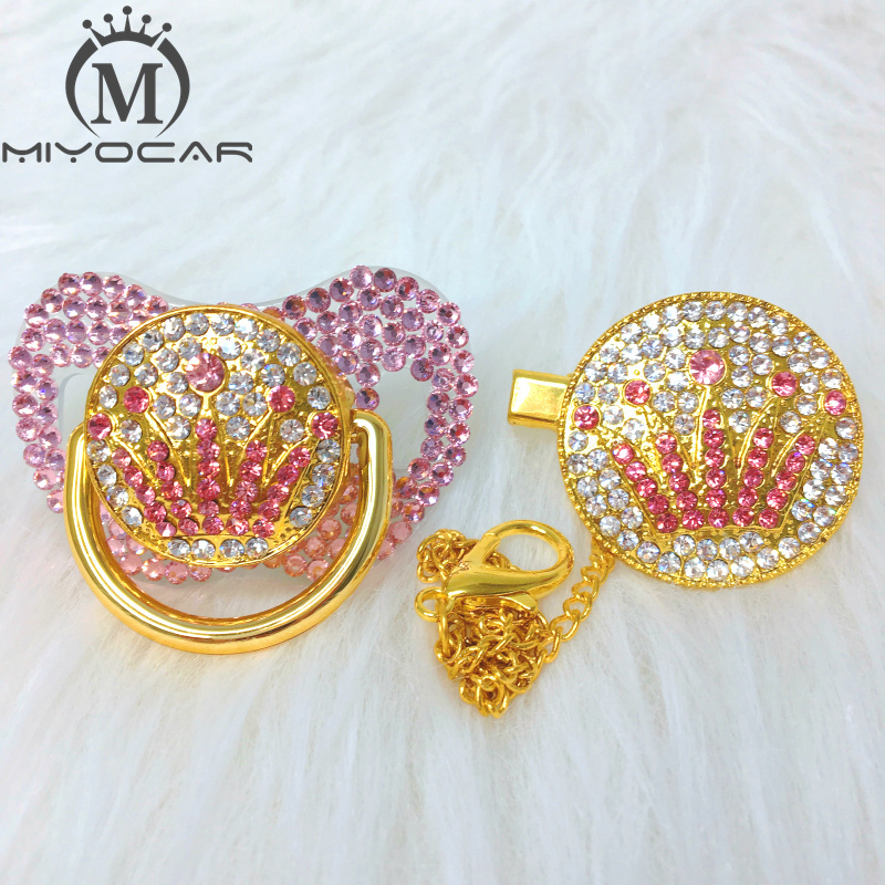 MIYOCAR Pink Bling Pink Crown Rhinestone Pacifier And Clip Set Pacifier Chain Holder Gold Pacifier Pink Rhinestone APCG-SP