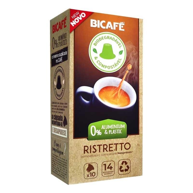 Coffee Ristretto Bicafé Biodegradable 10 capsules compatible with Nespresso