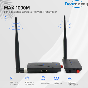 Doornanny 1000M Cabel Extender Wireless Repeater Camera WiFi Digital Signal Amplifier 2.4Ghz 802.11ah Transmitter & Receiver
