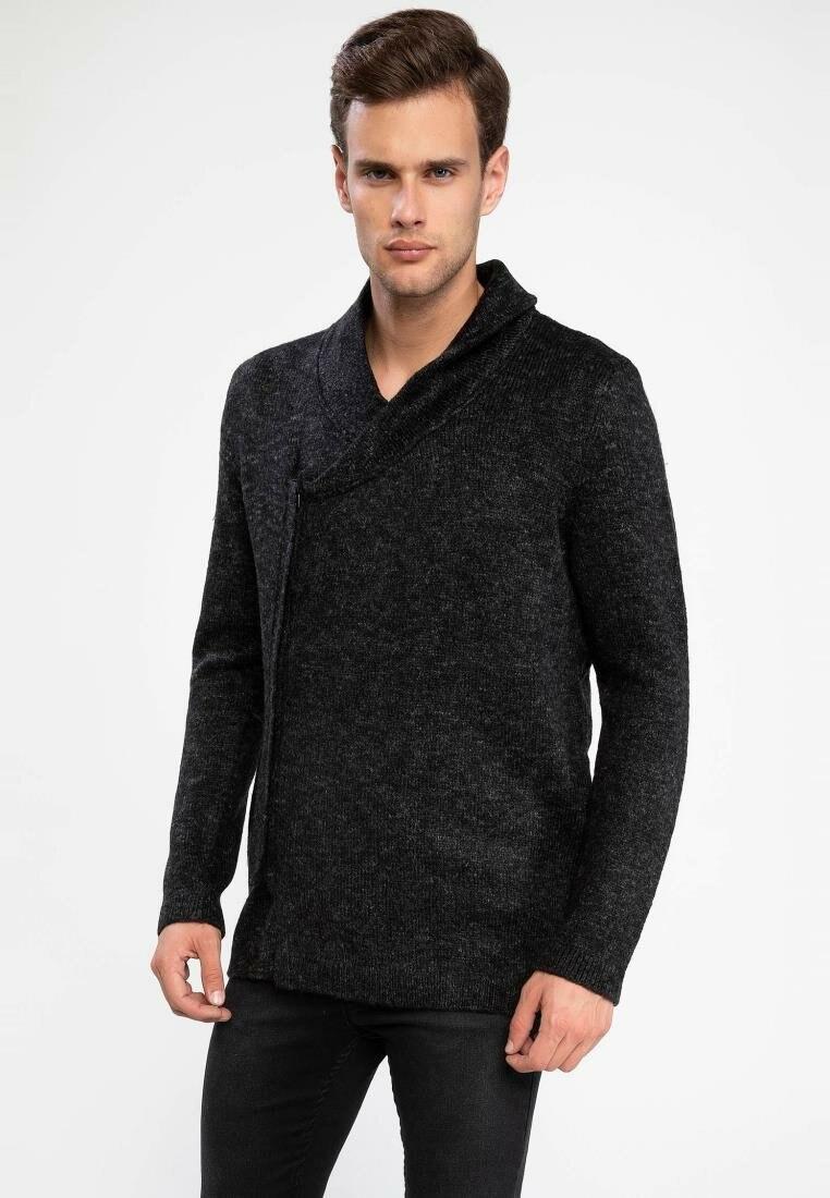 DeFacto Man Winter Black Knitted Cardigan Creative Design Men V-neck Casual Top Coats /Male Bolero Cardigans-J4756AZ18WN